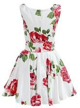 White Sleeveless Floral Dress