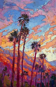 Limited Edition Print - Palm Springs sunset landscape oil painting by Erin Hanson