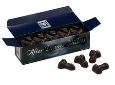 After Dinner Willies: Finish off a romantic meal together with these tasty after dinner mints. The box is styled in the shape of classic after dinner mints but contains small mint fondant filled dark chocolate willies. Great gift for any adult occasion. Gag Gifts, Party Gifts, After Dinner Mints, Natural Lubricant, Romantic Meals, Hen Party Accessories, Cleaning Toys, Hens Night, Secret Santa Gifts