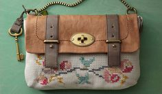 A vintage-inspired DIY project using Fossil's Leather Mason bag and embroidery floss
