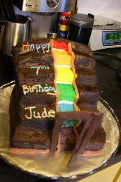 Had to have a rainbow staircase cake for our Secrets of Droon Party