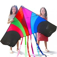 Tomi Kite – Huge Rainbow Kite That is Ideal for Kids and Adults – Easy to Launch in Stiff Wind or Soft Breeze – 60 Inches Wide – 100 Meter String – 6 Tails – Built to Last - Great for Family Fun and children was now (as of Kites For Kids, Delta Kite, Kite Designs, Color Fly, Go Fly A Kite, Best Stocking Stuffers, Fun Activities, Physical Activities, Simple