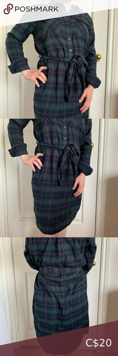 """Gap Green Plaid Long-Sleeved Dress Dark green/navy blue/red long-sleeved plaid dress. Knee length and ties at the front with a fabric belt. Button-up at the top part of the dress.   Size: S Brand: Gap Length: 32"""" Bust: 17"""" Sleeves: 21"""" GAP Dresses Long Sleeve Gap Dress, Shirt Dress, Sleeved Dress, Plaid Dress, Button Up, Ties, Navy Blue, Belt, Dark"""