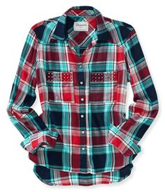 Long Sleeve Studded Woven Shirt from Aeropostale