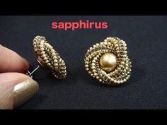 【ビーズステッチ】幾何学模様のフラワーピアス☆作り方 How to make : Geometric pattern Flower earri. Seed Bead Jewelry, Bead Jewellery, Seed Bead Earrings, Beaded Earrings, Earrings Handmade, Pearl Earrings, Flower Earrings, Beaded Bead, Jewelry Findings