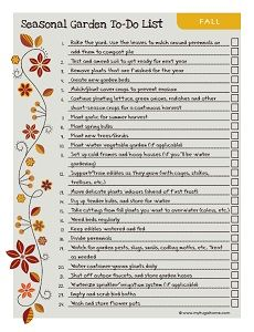 There are always things you can do to upkeep your garden! Check it out! Printable Fall Garden To Do List