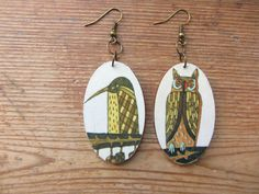Wooden Boho Owl Earrings, Recycled Paper Earrings, Bird Earrings, Upcycled Children's Book Illustrations, Paper Jewelry, 1st Anniversary by GarageCoutureClothes on Etsy https://www.etsy.com/listing/250101574/wooden-boho-owl-earrings-recycled-paper