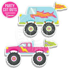 Girly Monster Trucks Cut Out - JW Illustrations