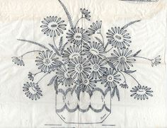 VINTAGE EMBROIDERY TRANSFER - A VASE OF DAISIES - SMALL CUSHION | eBay