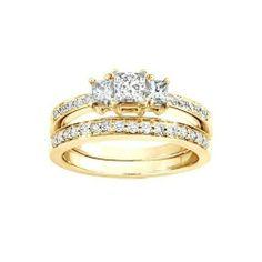 1.00 CaratPrincess Cut DiamondThree Stone Wedding Set on 18K Yellow - Gold FineTresor. $2878.18. Metal: 18 K Yellow - Gold. Center Dimond Carat Weight: 0.33. Center Diamond Cut: Princess. Diamond Clarity: I1-I2. Diamond Color: I-J
