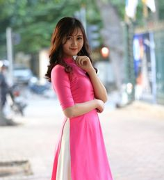 Ao Dai Cach Tan Pink Silk White Skirt Tailor Made