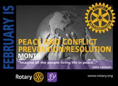 Peace & Conflict Prevention/Resolution Month - by CMC Conflict Resolution, John Lennon, Rotary, Peace, Life, Google Search, Sobriety, World