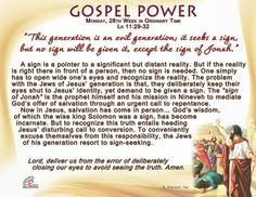 Gospel Power - Monday, 28th Week in Ordinary Time