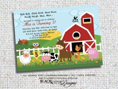 Farm Animals Birthday Party Invitations  by TresCutiesDesigns, $15.00