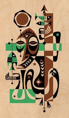 Derek Art - Illustration, Serigraphs, Paintings, and Tiki Mugs Tiki Art, Tiki Tiki, Tiki Bar Decor, African Art Paintings, Africa Art, Nautical Art, Retro Illustration, Tropical Art, Art For Art Sake