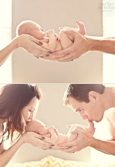 Mom, Dad, newborn picture. Love you from your head to your toes.  Adorable newborn baby photo with parents.  maybe get the big sibling between mom and day looking at the camera too!