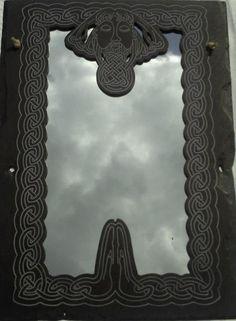 Celtic God Lu Hand Carved Slate Mirror 77 cm x cm Celtic Mythology, Irish Art, Fine Art America, Hand Carved, Carving, God, Mirror, Slate, Painting