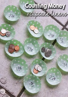 Easily adaptable for 2nd-4th grades! Using cupcake liners for math is an easy way to prepare a new activity, especially centers! This counting money game is tons of  fun, plus there are other suggestions for using the same format! Love this!