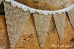 BURLAP and LACE Burlap Bunting Banner Photo by MasonBranchStudio, $12.00