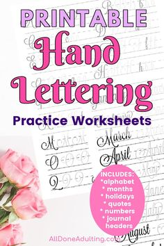 Free practice pages! Easily transform your handwriting with these printable worksheets! Free sample hand lettering practice pages and blank hand writing paper. Grab the complete bundle of 12 fonts and learn to write beautifully on your holiday cards and journals. Hand lettering bundle includes: alphabet, uppercase and lowercase letters, holidays and quotes, months, numbers and common words. #freepracticehandletteringworksheets #handletteringpracticepages #handletteringforbeginners