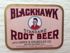 Vintage Unused Blackhawk Root Beer Label - Product Label, Ephemera, Collectibles - Perfect to Frame for Kitchen or Mancave!