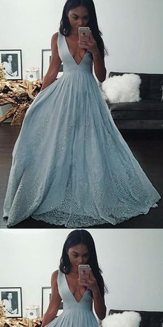 Illusion Light Blue A-line V Neck Long Prom Dresses With Lace Appliques,Evening Party Dress,PDY0375#prom dress#