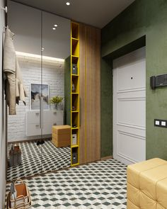 Modern appartmen with colours accents on Behance – Home Decoration Hallway Designs, Closet Designs, Home Entrance Decor, Home Decor Signs, Home Suites, Indian Home Interior, Home Decor Pictures, New Home Designs, Palazzo