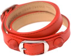 Referencing the stud detailing found on Balenciaga's covetable totes, this red leather wrap-around bracelet will make a cool finishing touch to simple looks.