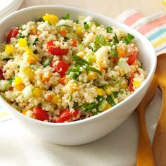 Colorful Quinoa Salad Recipe -My youngest daughter recently learned she has to avoid gluten, dairy and eggs, which gave me a new challenge in the kitchen. I put this dish together as a side we could all share. We love it for leftovers, too. —Catherine Turnbull, Burlington, Ontario