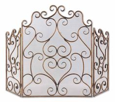 Our Scrolled Metal Fire Screen is finished in distressed maple wash with gold leaf undertones.