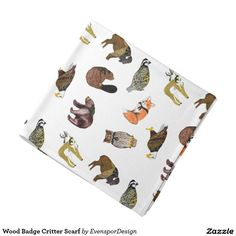 Shop Wood Badge Critter Scarf Bandana created by EvensporDesign. Wood Badge, School Spirit, Party Hats, Bandana, Print Design, First Love, Create Your Own, Vibrant Colors, Fabric