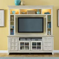 tv console with storage and display on sides and above--Liberty Furniture New Generation Entertainment Center | Wayfair