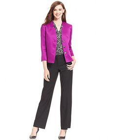 Tahari ASL Textured Jacket, Animal-Print Top & Relaxed-Fit Trousers - Wear to Work - Women - Macy's