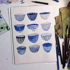 ome Japanese bowls from yesterday's Mr. Japanese Bowls, Japanese Ceramics, Blue Drawings, Art Drawings, Willow Pattern, Art For Art Sake, Art Sketchbook, Painting & Drawing, Watercolor Art