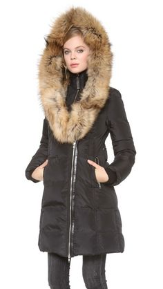 Mackage 'Trish' Genuine Rabbit Coyote Fur Trim Down Coat Jacket Small S Bold Fashion, Womens Fashion, Fashion Design, Best Winter Coats, Down Coat, Coats For Women, Winter Fashion, Girl Outfits, Street Style