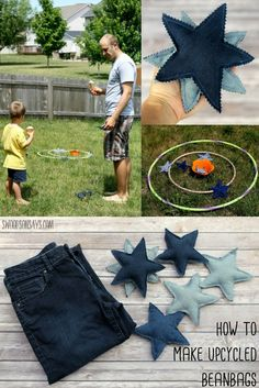 Turn those old jeans into fun beanbags - perfect for getting together in the backyard with a sweet ice cream treat! Check out this sponsored post for a free jeans upcycling pattern and tutorial. #ad #collectivebias #sweetertogether
