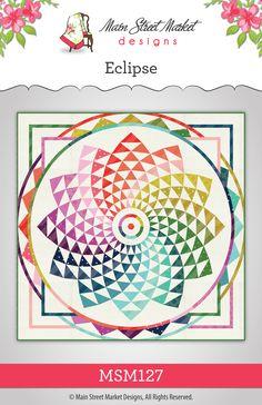 Eclipse Quilt Pattern by Main Street Market Designs. Features Cotton+Steel Basics. Paper Piecing quilt pattern.