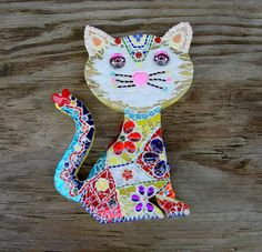 Mosaaic Cat Talavera Style One of A Kind Original by zzbob on Etsy