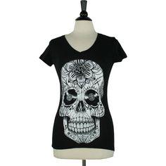 Punk Rock Sugar Skull V-Neck Tee ($20) ❤ liked on Polyvore