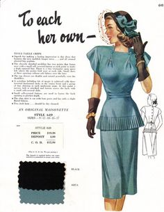 Maisonette salesman's sample from the late 1940s. #vintage #1940s #fashion #dress