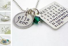 silver calendar date necklace. Got one for Christmas with wedding date on it.