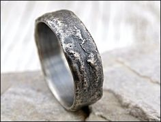 molten silver ring rich structure mens wedding ring by CrazyAssJD # mens Wedding Rings molten silver ring rich structure, mens wedding ring unique, celtic ring viking, meteorite wedding band men, cool engagement ring Engagement Rings For Men, Diamond Engagement Rings, Diamond Rings, Oval Rings, Engagement Jewelry, Mens Wedding Bands Meteorite, Unique Silver Rings, Silver Jewelry, Silver Earrings