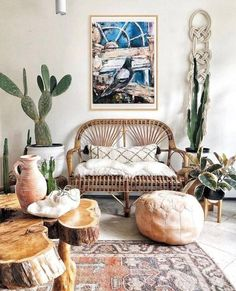 Bright neutral colored bohemian rooms are easy on the eyes. Top tips? Lots of natural elements (woods, wicker, rattan, stone, metals, + PLANTS), books, art, + trinkets, light textiles + textures, + patterns, and mostly neutral tones like black + white, beiges, and grays. Whatever your style: rustic boho, cozy, southwest + hip, jungalow, or modern + classic -- click to check out our favorite rooms + homes that ooze boho ease. #brightboho #neutralboho #neutralspaces #cleandesign Artwork For Living Room, Living Room Canvas, Boho Living Room, Bohemian Living, Living Room Furniture, Living Room Decor, Rustic Furniture, Modern Furniture, Outdoor Furniture