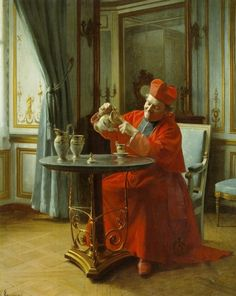 """A Divine Cup of Tea"" by Henri Adolphe Laissement (French 1854-1921)"