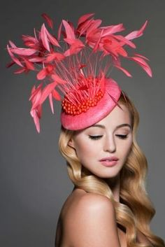 Emma Brown Couture Millinery - Alexa, Flamingo coque feathers surrounded by pearl clusters.