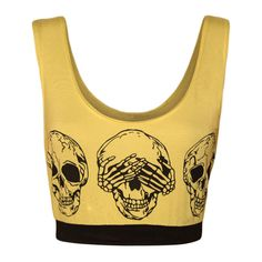 Meagan Skull Print Cropped Vest Top ($12) ❤ liked on Polyvore featuring tops, crop tops, yellow, yellow top, skull top, crop top, beige top and scoopneck top