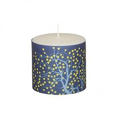 'FRUITE TREE' small pure white pillar candle with spectrum blue and yellow parchment tree design by Broste, Copenhagen