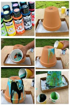 How To Paint Pour Or Dirty Pour With Video Tutorial is part of Painted terra cotta pots - Tutorial on how to paint pour takes you through the simple steps and the technique requires no harsh chemicals Marbling home decor the dirty pour method Paint Garden Pots, Painted Plant Pots, Painted Flower Pots, Glass Garden, Flower Pot Crafts, Clay Pot Crafts, Pot Mason Diy, Mason Jar Crafts, Decorated Flower Pots