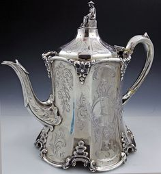 English silver antique teapot, hand engraved teapot by William Smily, London, 1858 Vintage Tea, Vintage Silver, Antique Silver, Silver Teapot, Bronze, Teapots And Cups, Tea Service, My Tea, Tea Time