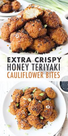 Crispy, crunchy, and vegetarian, these Extra-Crispy Honey Teriyaki Cauliflower Bites are the perfect antidote to chicken wings! Easy and delicious. Veggie Dishes, Vegetable Recipes, Vegetarian Recipes, Cooking Recipes, Healthy Recipes, Easy Vegetarian Appetizers, Clean Eating Snacks, Healthy Snacks, Cauliflower Recipes